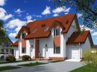 Одноэтажный жилой дом на две семьи с мансардой, гаражом, балконами и террасой